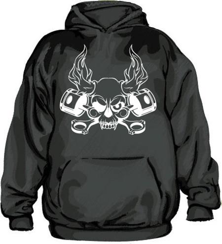 Skull & Pistons Hoodie, Hooded Pullover