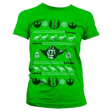 Star Wars Yodas X-Mas Knit Girly T-Shirt, Girly Tee