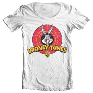 Looney Tunes Distressed Logo Wide Neck Tee, Wide Neck Tee