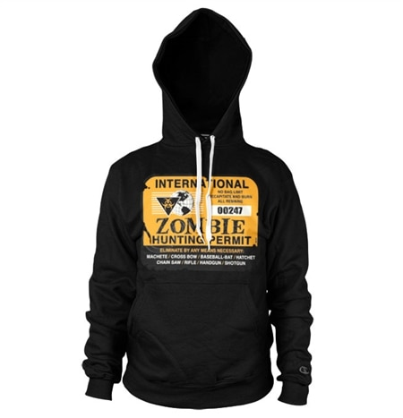 Zombie Hunting Permit Hoodie, Hooded Pullover