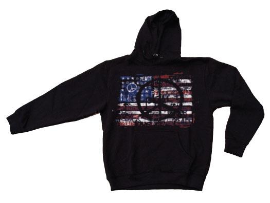 USA Flag With Peace Symbols Hoodie
