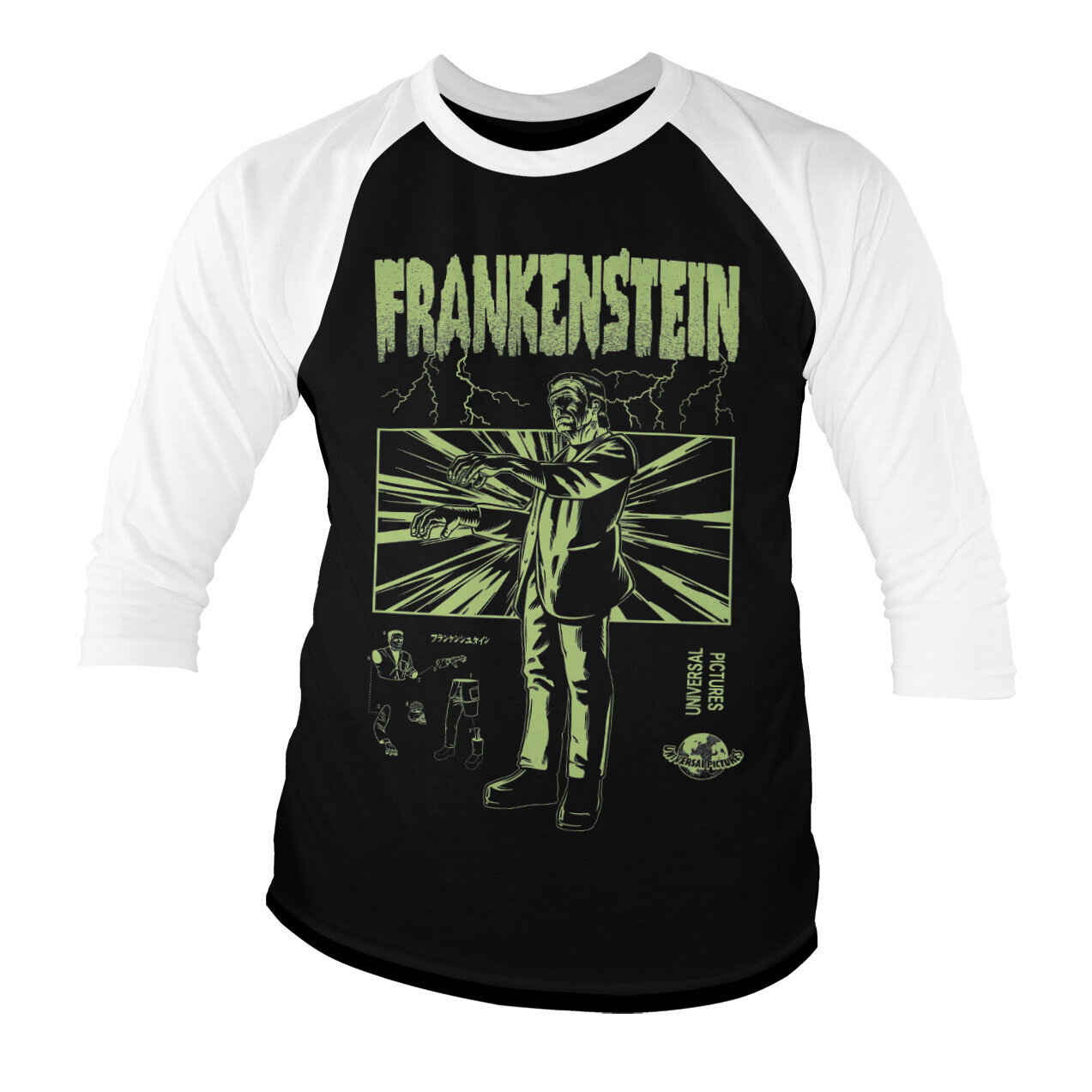 Frankenstein Retro Baseball 3/4 Sleeve Tee
