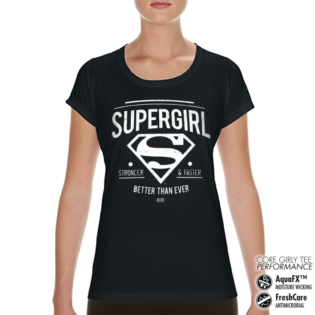 Supergirl - Strong & Faster Performance Girly Tee