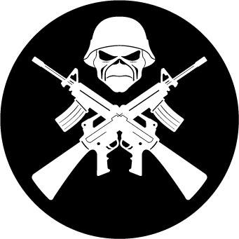 Iron Maiden Crossed Guns sticker.