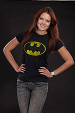 Batman Distressed Logo Girly T-Shirt